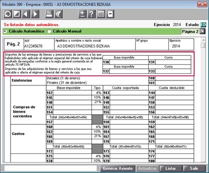 Sujetos pasivos criterio de caja 390 Bizkaia