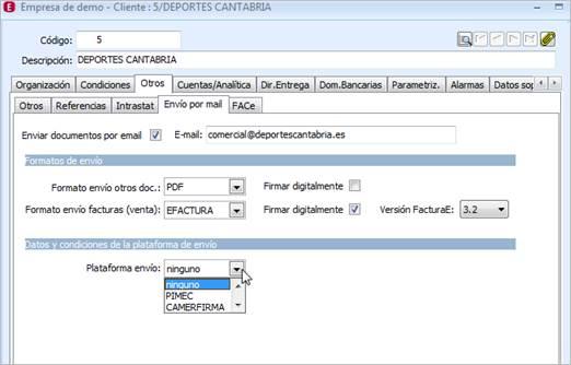 configuración de la factura e en a3erp