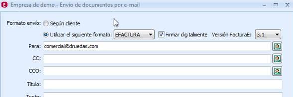 Envío de documentos por e-mail