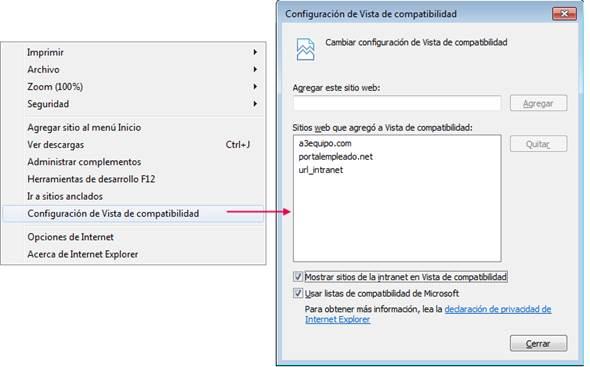 configuracion vista compatibilidad