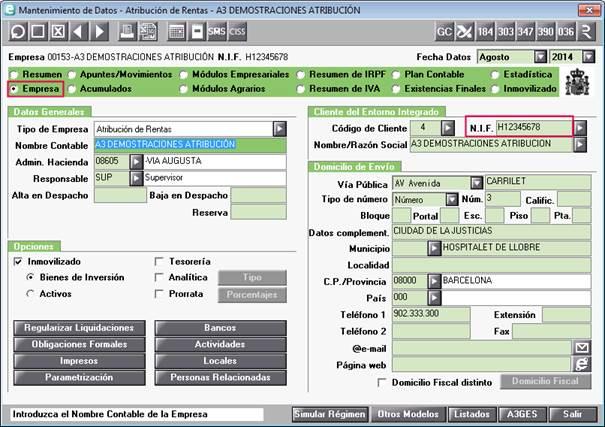 NIF H Mantenimiento de datos