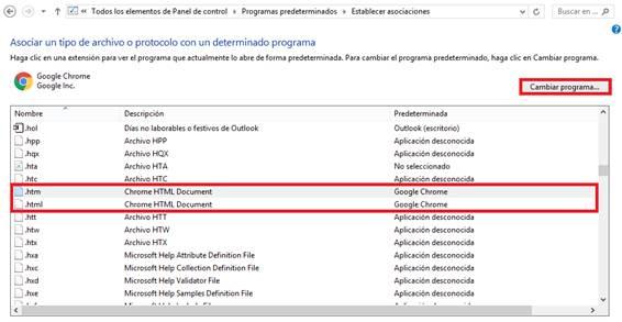 Asociar un tipo de archivo o protocolo con un programa