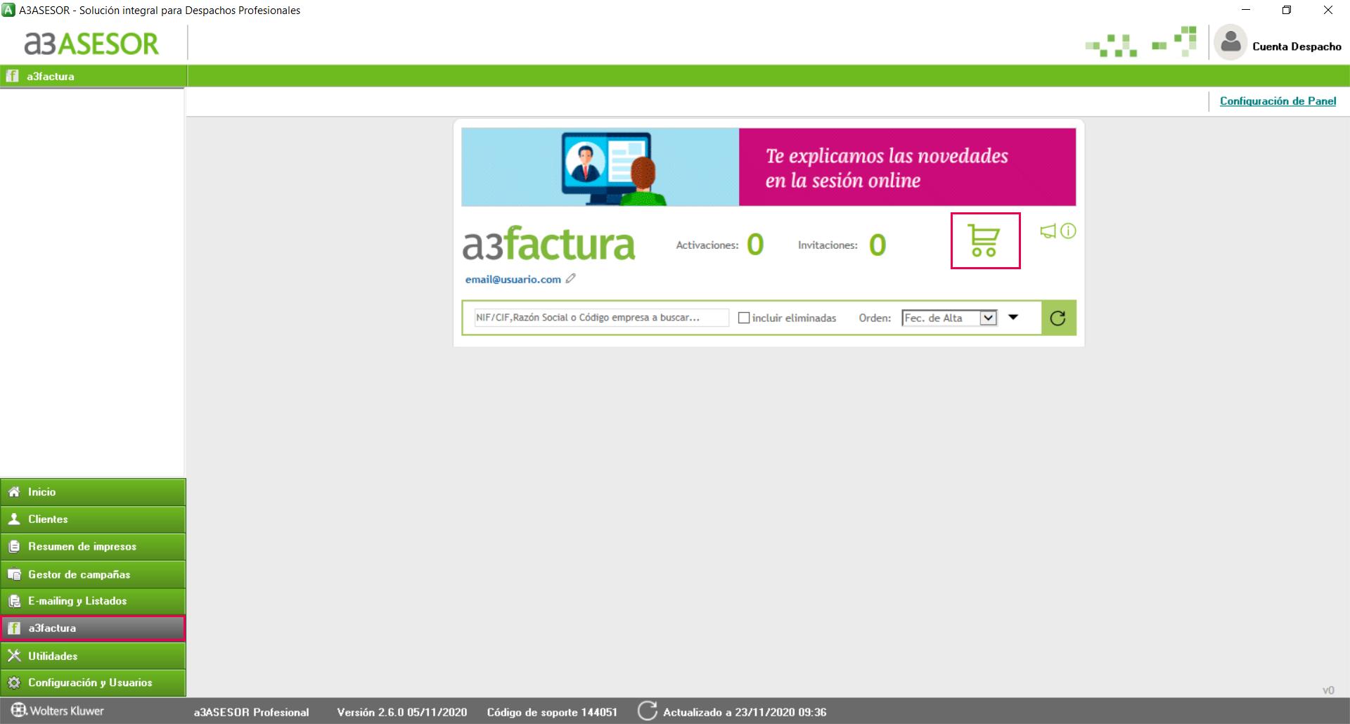 nueva licencia a3factura