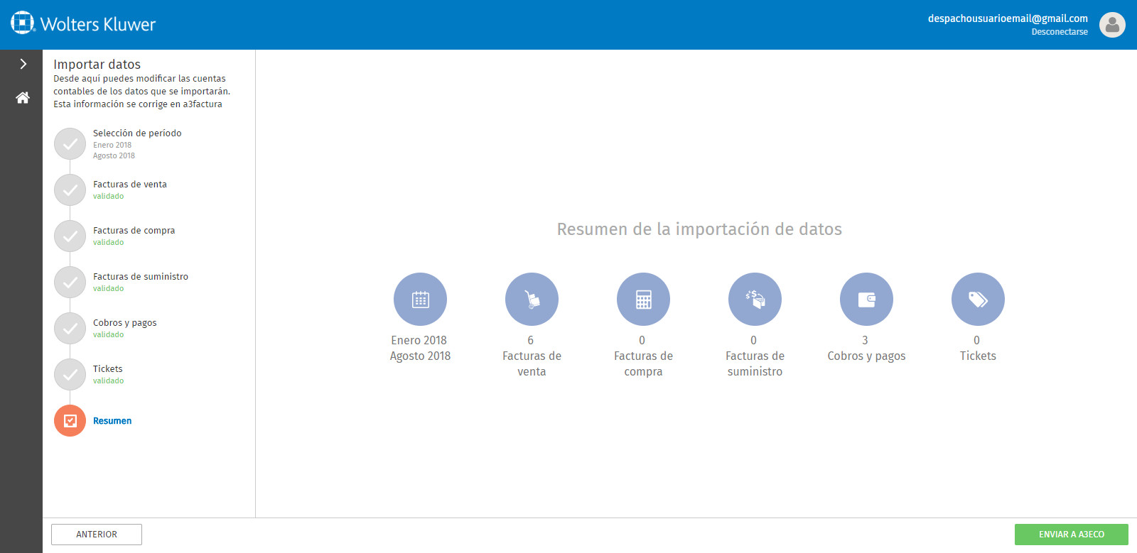 Portal a3factura Importar datos Resumen