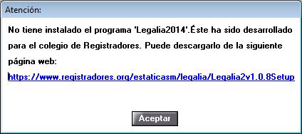 No tiene instalado Legalia