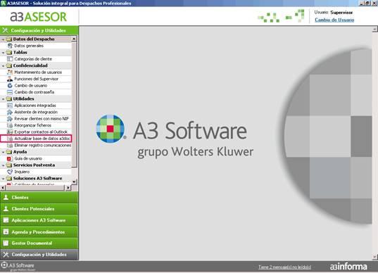 Actualizar la base de datos de a3doc