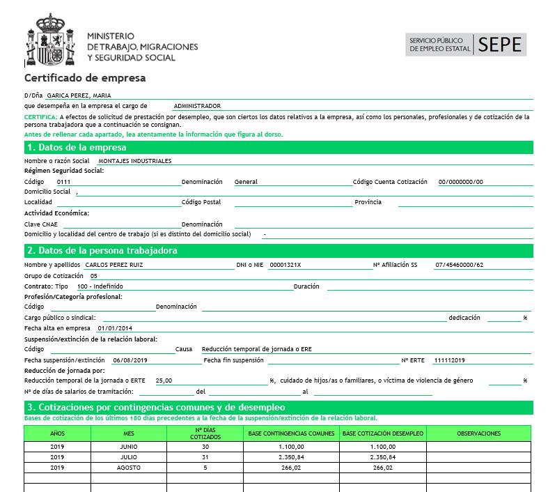certificado ERE
