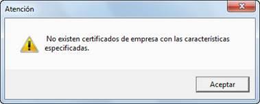 No existen certificados de empresas