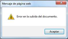 error subida documento