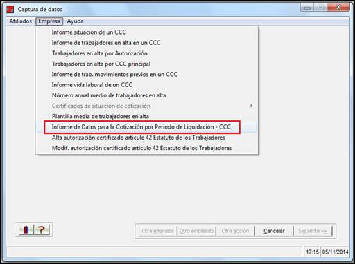Datos Cotización Periodo Liquidación CCC