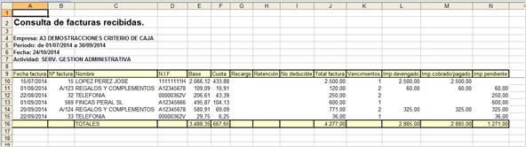 Excel consulta de facturas