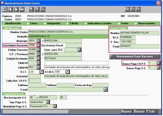 datos titular y código administració hacienda