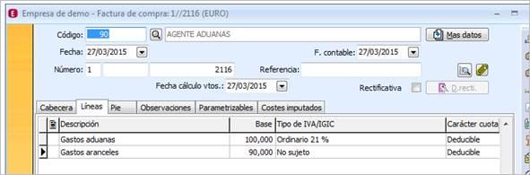 Detalle factura aduanas