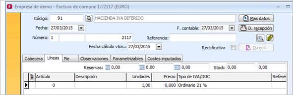 Detalle factura certificado hacienda