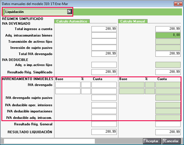 Liquidación datos manuales 310 Bizkaia