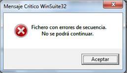 mensaje fichero con errores secuencia