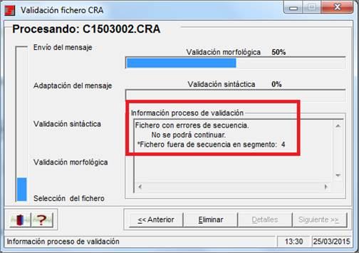 validación - fichero - CRA