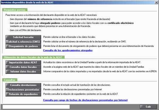 Servicios disponibles web AEAT