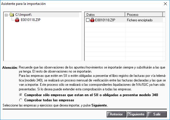 Asistente para la importacion encriptado