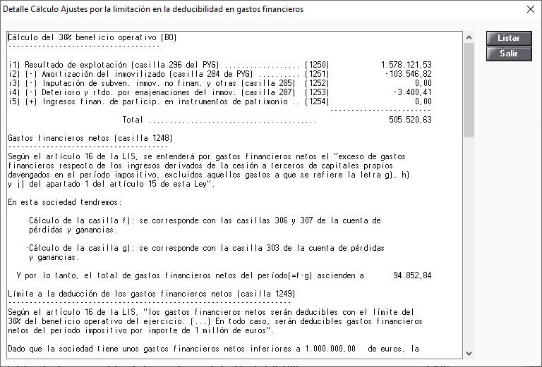 Detalle de Calculo Ajustes por la limitacion en la deducibilidad en gastos financieros