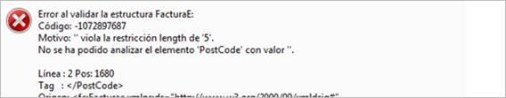No se ha podido analizar el elemento ' Postcode ' con valor''