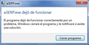 A3erp.exe dejó de funcionar