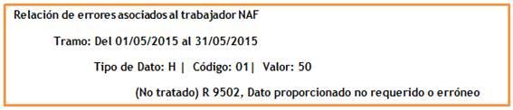 Relación de errores asociados al trabajador NAF
