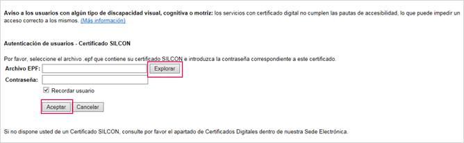 seleccionar certificado silcon
