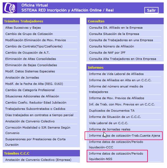 Informe Datos Cotización Trab. Cuenta Ajena IDC