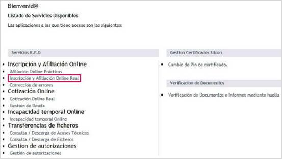 Fichero IDC Inscripción y Afiliación Online Real