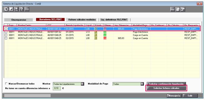 pantalla sistema liquidación directa cret@