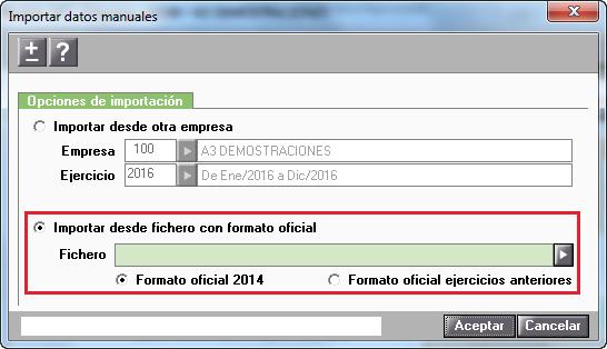 Importar datos manuales del Modelo 347 desde fichero con formato oficial