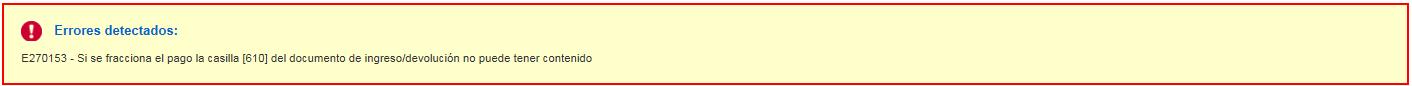 Error complementaria Fraccionar pago
