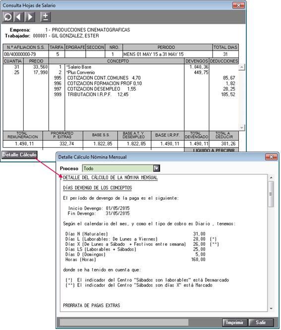 Detalle cálculo nómina mensual