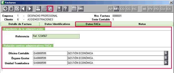 Datos FACe en Facturación manual