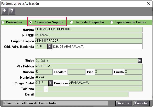 datos Presentador soporte