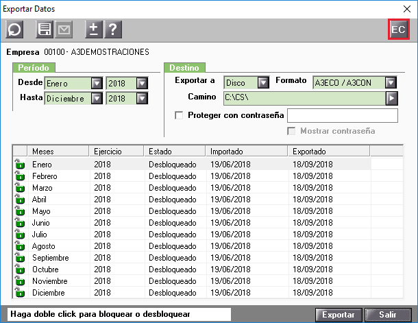 Exportar Datos Estadistica contable