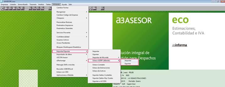 Menú Utilidades en a3ASESOR | eco. Enlace diferido