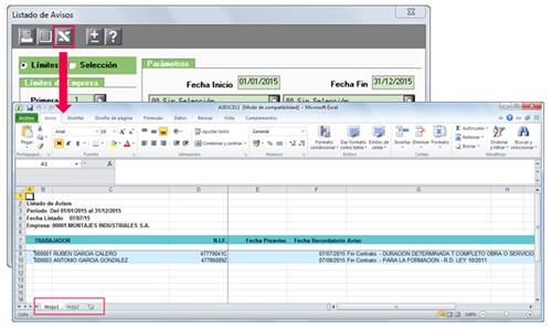 exportar en formato Excel listado avisos