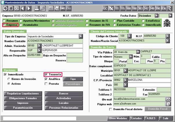 Mantenimiento de Datos Empresa Tesorería