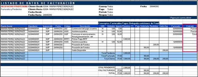 listado de datos de facturación