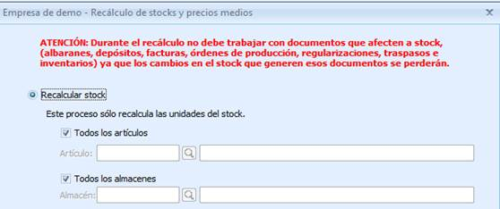 Recálculo de stocks