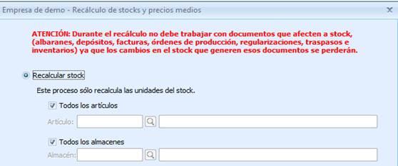 Recálculo de stocks
