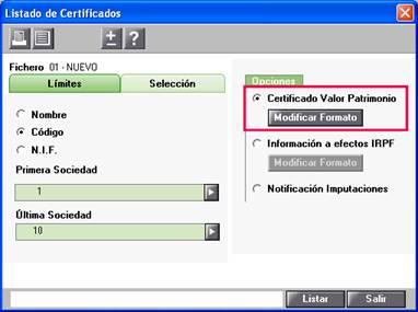 Listaod certificado