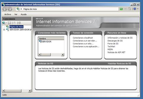 Administración de internet information services
