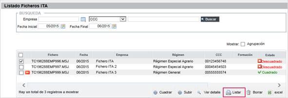 listado ficheros ITA