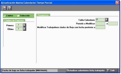 Actualizar Calendario.Trabajador A Tiempo Parcial Actualizacion Masiva De Calendarios