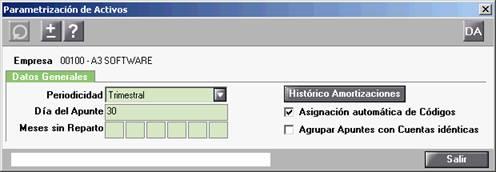 Parametrización de activos