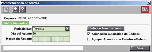 Parametrización activos