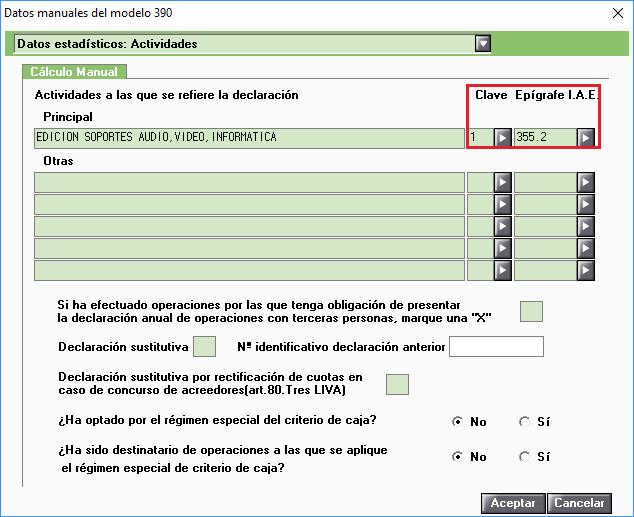 Datos manuales modelo 390